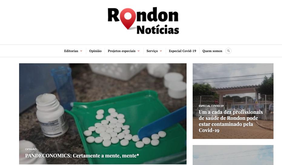 Rondon Notícias produz série de reportagens sobre o Covid-19
