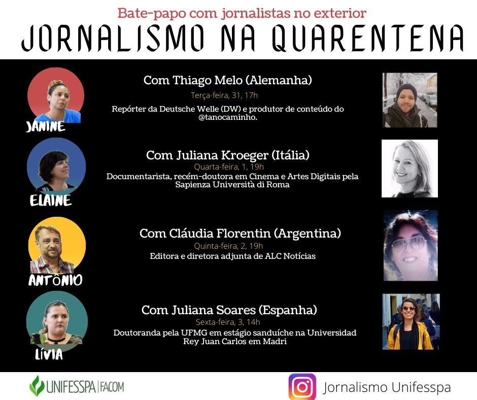 Professores fazem live com jornalistas brasileiros no exterior